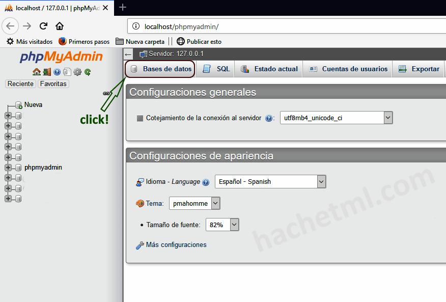 Crear base de datos con phpMyAdmin.