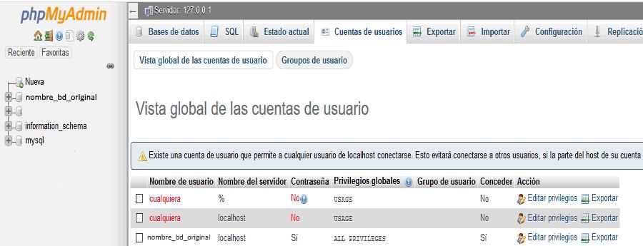 Crear nuevo usuario de base de datos con phpMyAdmin.