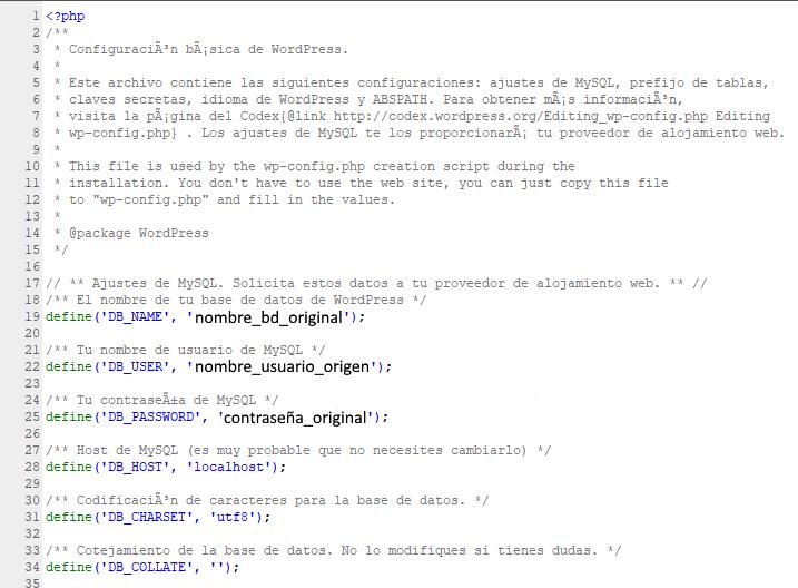 Configuración Básica de wp-config.php de wordpress.