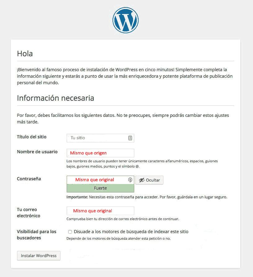 Instalación de wordpress.