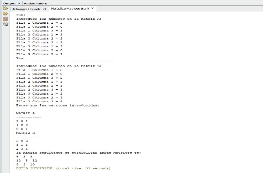 Imagen de consola Java. Multiplicar Matrices