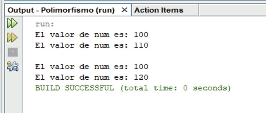 Ejemplo de polimorfismo. Salida en consola de programa en Java utilizando objetos de subclases de Clases abstractas