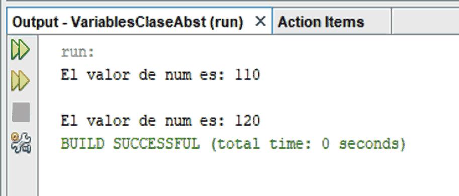 Ejemplo de polimorfismo. Salida en consola de programa en Java utilizando variables de Clases abstractas