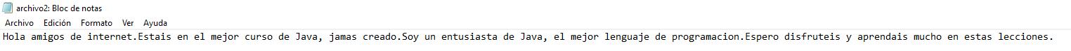 Curso de java. trabajando con flujos de datos. Archivo2