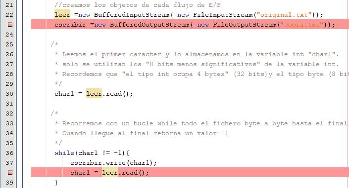 Curso de Java. Flujos de Bytes. Ejemplo con buffer.